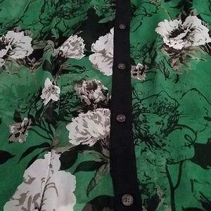 Isaac Mizrahi Tops - IMNYC Issac Mizrahi Green Flower Sheer Shirt XL